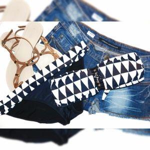 PilyQ Triangle Print Bandeau Bikini Top